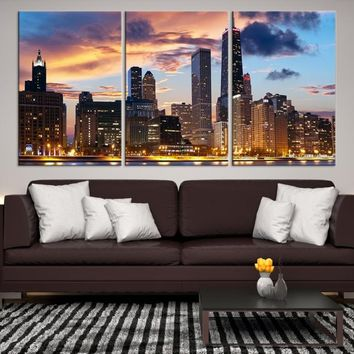 51301 - Chicago Wall Art Canvas Print - Extra Large Chicago City Night Canvas Print