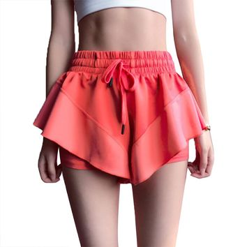 Three-dimensional Lightning-fast Dry Anti-light Yoga Workout Skirt Running Pants for Women Lady