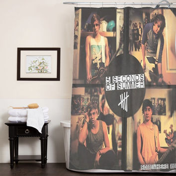 5sos 5 second of summer somewhere new custom shower curtain