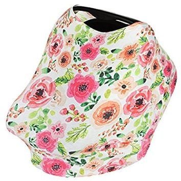 5-In-1 Infant Nursing Breastfeeding Cover for Baby Girls (Floral) - Car Seat Canopy, Shopping Cart, High Chair & Stroller Covers, Stretchy & Breathable Infinity Scarf & Shawl by KiddyStar