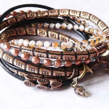 copper gold black color silk brocade wrap bracelet