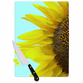 "Richard Casillas ""Sunflower Mint"" Yellow Teal Cutting Board"