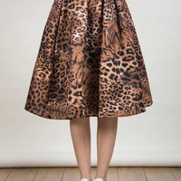 Tiger Print High Waist Skirt With Pleated Detail