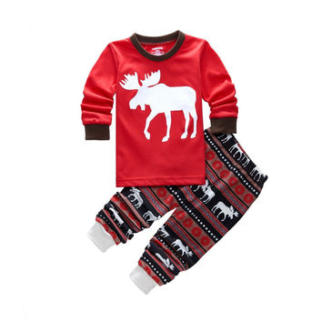 Unisex Pajama Sets Cotton Kids Baby Moose Sleepwear Nightwear