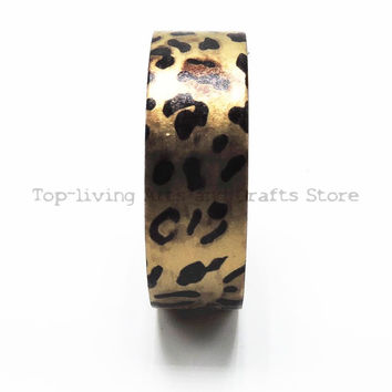 Leopard Foil Washi Tape 10M Length Kawaii Scrapbooking Tools Japanese Stationery Adesiva Decorativa Scrapbook