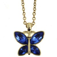 Diamante Butterfly Pendant Necklace
