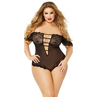 Sexy Black Ink Plus Size Lace and Mesh Off Shoulder Thong Teddy