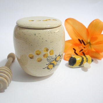 Pottery Honey Pot, Small Storage Jar, Hand Painted Bees, Ceramics in Yellow and Black
