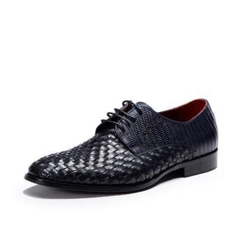 Woven Leather Mens Dress Shoes