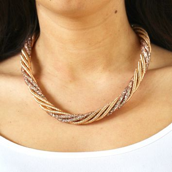Coiled Crystal Twist Necklace
