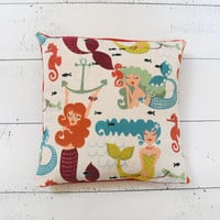 Whimsical Retro Mermaid Pattern Decorative Accent Pillow Cover