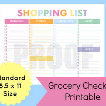 Grocery Shopping List Printable, Printable Shopping List, Arc Planner, Grocery  Shopping List Template  Grocery List Organizer Template