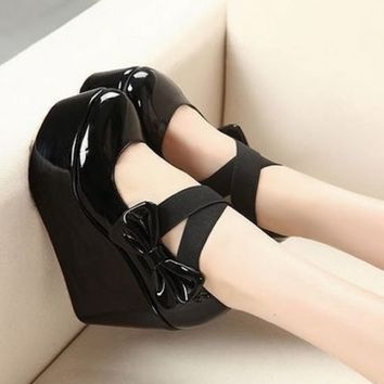 Women High Soles Heel Bowknot Platform Round Toe Shoes Elastic New Apricot 1m8