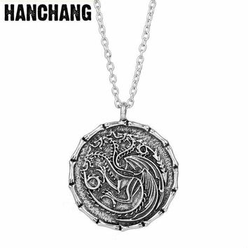 HANCHANG Coin Jewelry Movie Game Of Throne Necklace Song Of Ice And Fire Vintage Targaryen Pendant Fire And Blood Necklace