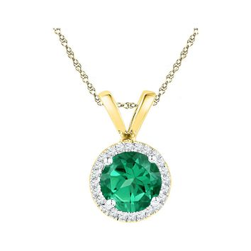 10k Yellow Gold Womens Lab-Created Emerald Solitaire & Diamond Halo Pendant 7/8 Cttw