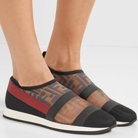 FENDI Colibrì logo-print mesh and rubber slip-on sneakers