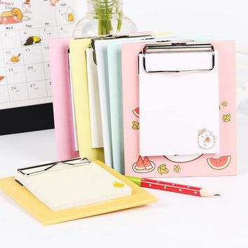 Cartoon Mini Clipboard Memo Pads Fruit Notesbook Kawaii Creative Office Stationery Work Planner Diary Agenda Sticky Notes