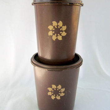 Tupperware Brown Canister Set Vintage Tupperware