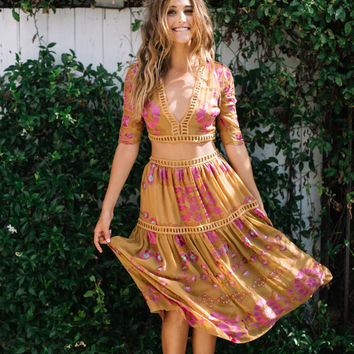 For Love & Lemons || Barcelona midi skirt in old gold