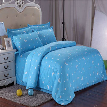 Cotton Blue Stars Moon Printing Bedding Set Bed Sheet Duvet Cover Twin Queen King Size