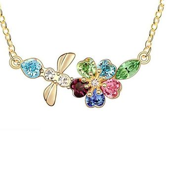 Flower Multi Crystal Pendant Necklace