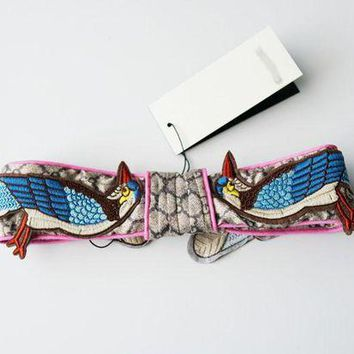 ONETOW GUCCI Flower Embroidered Silk Headband