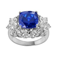 Sterling Silver Lab-Created Sapphire & Lab-Created White Sapphire Filigree Flower & Butterfly Ring (White/Stone/Sapphire)