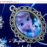 SALE - Ice Magic Child Elsa - Disney's Frozen - Handcrafted - Pendant - Charm - Cabochon
