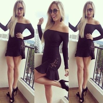 New 2015 slash neckline Women's Fashion strapless sexy party dress Young fashion mini black lace summer casual party long sleeve dress prom dress sexy vestidos = 5738906369