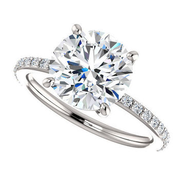 amora gem shay ring - 1.5 carat engagement ring, pave diamond band, 14k white gold