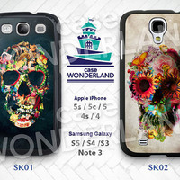Skull Samsung Galaxy S3 S4 S5 Case,Floral Skull Galaxy S3 S4 S5 Hard Rubber Case,Death Skeleton Galaxy S3 S4 S5 Note3 - SK01