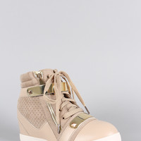 Liliana Zipper Perforated High Top Lace Up Wedge Sneaker
