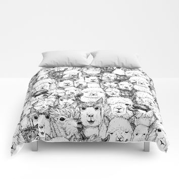 just alpacas black white Comforters by Sharon Turner