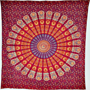 Orange Mandala Hippie Boho Bohemian Tapestry