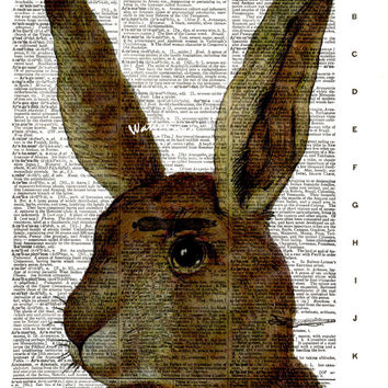 Easter Bunny Rabbit - Vintage Dictionary Art Print - Page Size 8.5x11