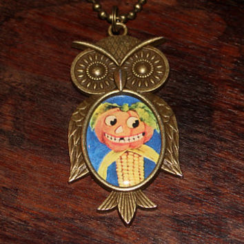 Halloween Necklace, Pumpkin Corn Person, Jack O Lantern Jewelry, Oddities, Bronze Owl Pendant