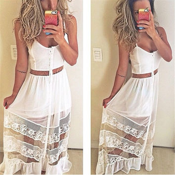 2015 Hot Style New Women's Fashion Deep V-neck Sleeveless Patchwork Floor-length Straight Casual Maxi Belt Dress = 1946547268