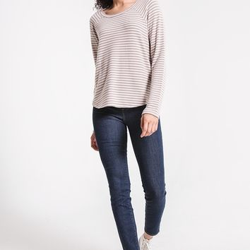 Striped Soft Spun Raglan Tee in Mystic Mauve by Z Supply
