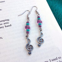 Music note earrings/ Purple and blue music note earrings/ Purple and blue earrings/ Handmade/ Women's/ Blue, purple, and silver