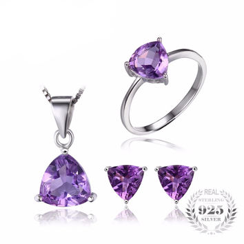 .925 Solid Silver Amethyst Trillion Ring Pendant Necklace & Earrings Set