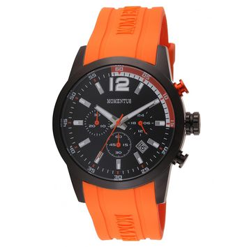 Momentus FS312B-04RR Men's Functional Sport Black Dial Chronograph Orange Rubber Strap Watch