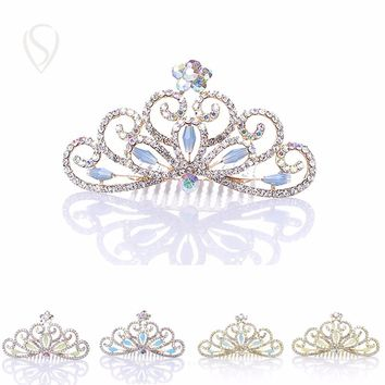 CLEARANCE SALE Flower Girl Tiara Crystal Crown Hairpin Peacock Rhinestone Hair Comb Clips Head Jewelry for Kids Birthday Party