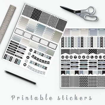 50% OFF SALE Black And White Planner Stickers Erin Condren Printable Planner Stickers Box Stickers Flags Weekend Banners Planner Accessories
