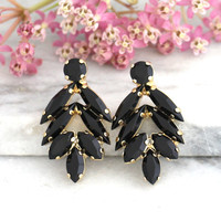 Black Earrings, Black and Gold Earrings, Swarovski Earrings, Swarovski Black Earrings, Cluster Black Earrings, Bridesmaids Black Earrings