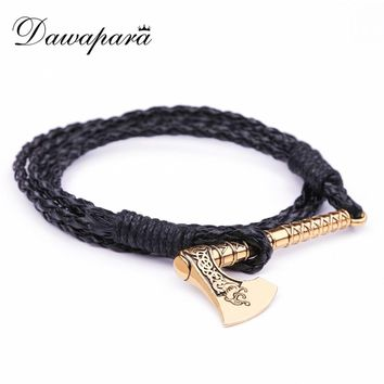 Dawapara Viking Dragon Pattern Amulet Norse Runes Axe Charm Black Leather Mens Bracelets 2018 Valentines Day Gift