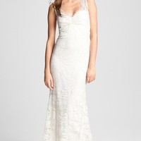 Nicole Miller 'Brooke' Sleeveless Lace Trumpet Gown