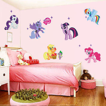 DIY Cartoon My little pony wall stickers for kids rooms Nursery Room decoration pvc animal tv decal girls room mural art Poster