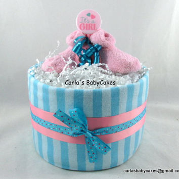 Girl diaper cake | Baby bodysuit cupcake | Ice cream sundae | Baby Shower gift | Baby shower decoration | Mini diaper cake | New mom gift