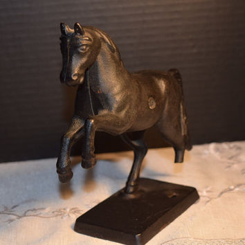 "Cast Iron Bank ""Tripod The Magnificent"" Racing Horse Vintage Cast Iron Rearing Horse Bank Farm House Collectible Still Bank Black Horse"