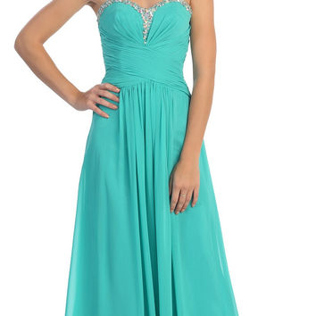 Studded Sweetheart Neck Jade Long A Line Prom Strapless Gown
